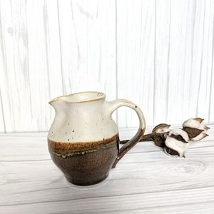 Handmade Brown and white Pottery Pitcher Vase